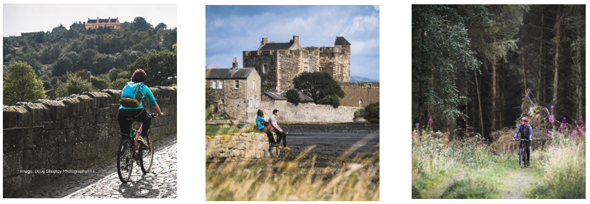 Three images; a woman cycles over Old Striling Bridge, two people sit on a wall beside Blackness Castle, a man cycles towards the camera through a woodland.