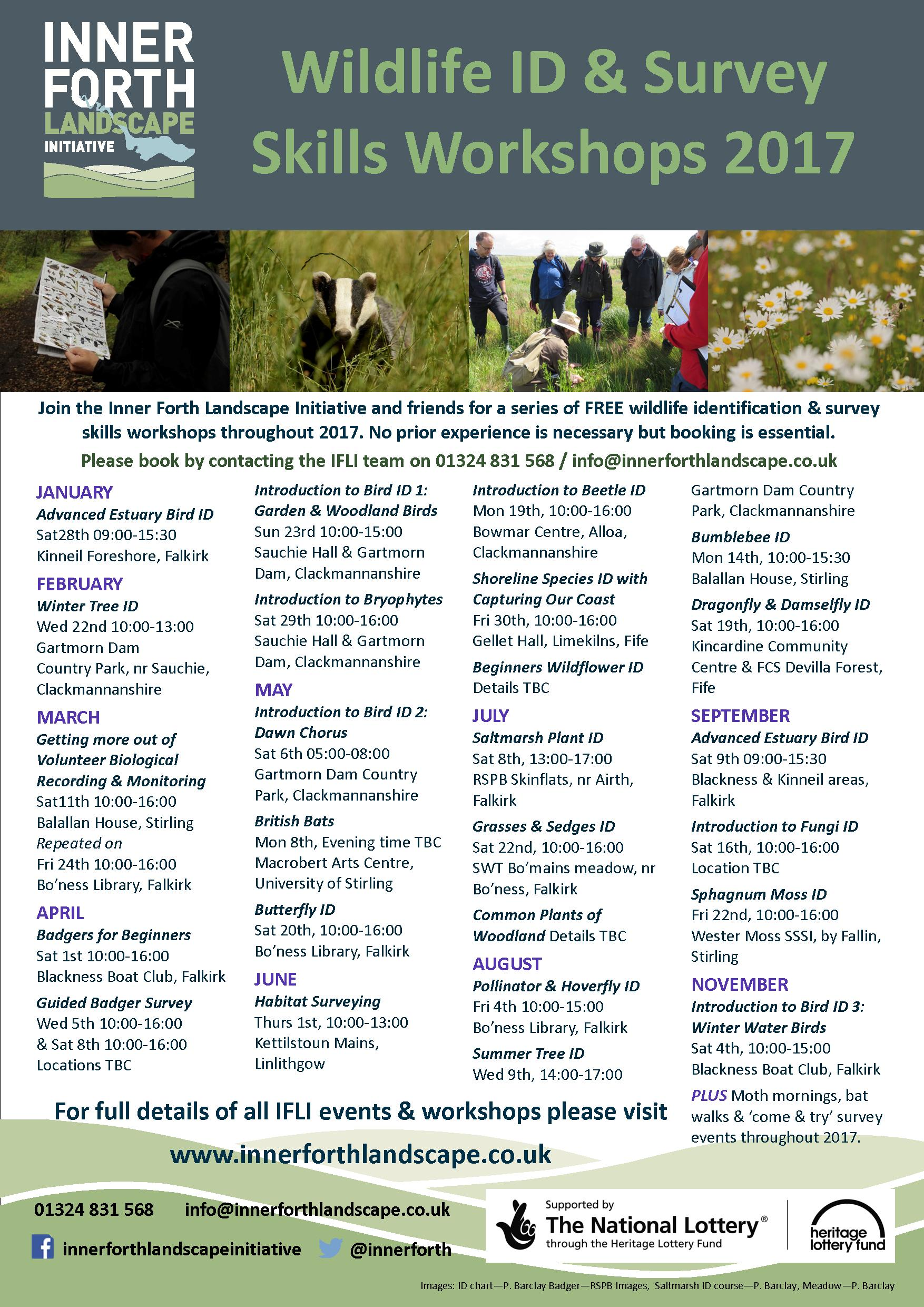 Forth Nature Counts 2017 wildlife identification workshops poster