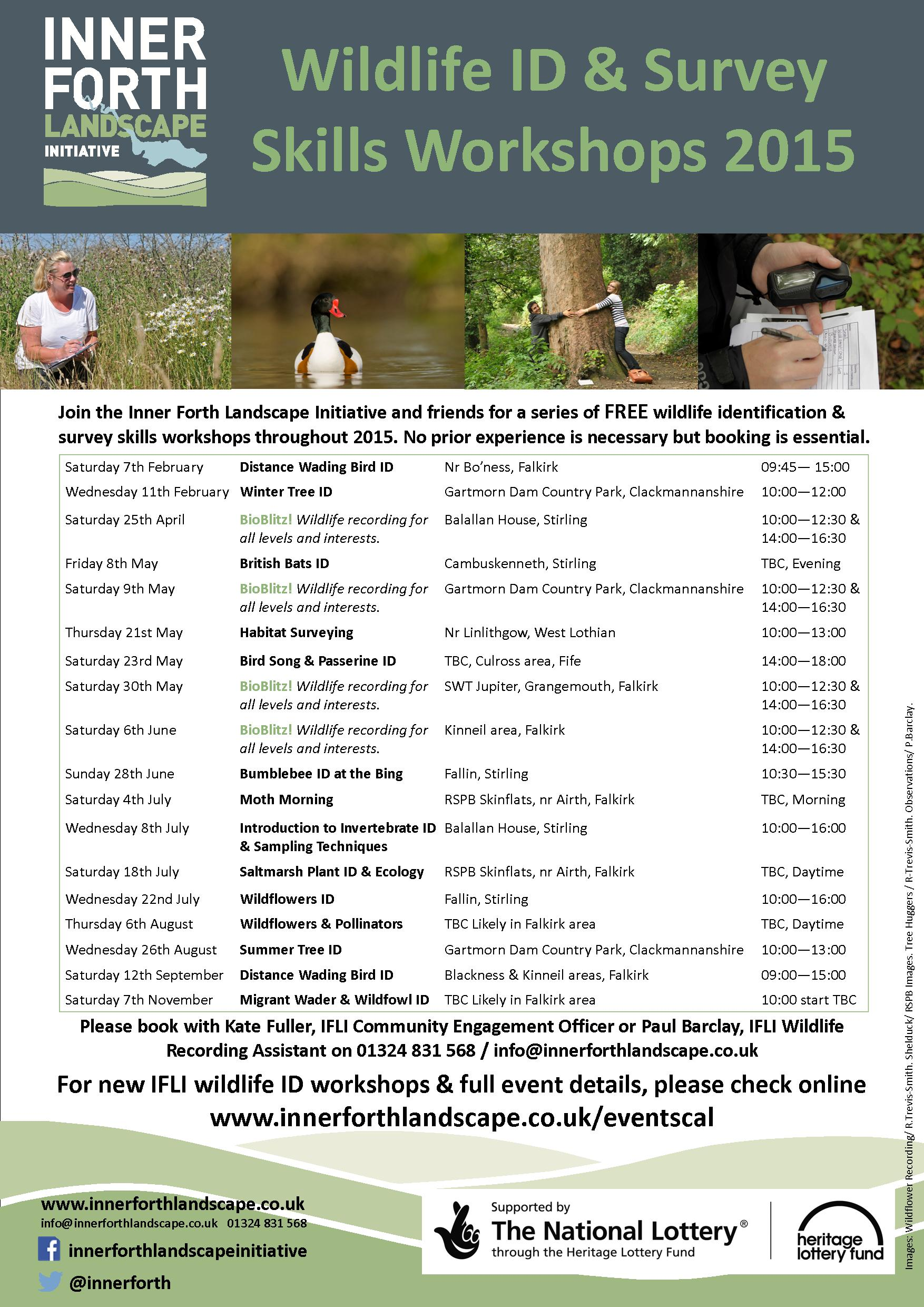 Forth Nature Counts 2015 wildlife identification workshops poster